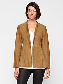 High Collar Long Jacket in Soft Suede