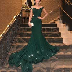 Prom Dress For Teens, Fashion Trumpet/Mermaid Sleeveless Off-the-Shoulder Sweep/Brush Train Ruffles Sequins Dresses cheap prom dresses, beautiful dresses for prom. Best prom gowns online to make you the spotlight for special occasions. Gala Dresses, Cheap Prom Dresses, Junior Dresses, Dark Green Prom Dresses, Party Dresses, Green Wedding Dresses, Prom Gowns, Event Dresses, Occasion Dresses