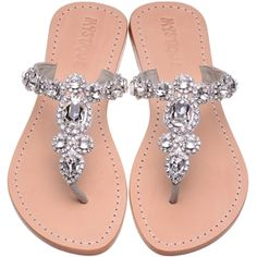 flip flop silver leather bridal flats