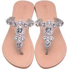 flip flop silver leather bridal flats