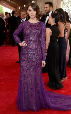 Allison Brie is looking like a lovely violet Siamese fighting fish tonight,