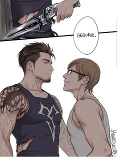 "Gladnis week day ""Brotherhood era"" I did another collab with ! I never say no to some Brotherhood Gladnis, hehe. The scene comes from this fic HERE ^^ Final Fantasy Xv, Final Fantasy Collection, Final Fantasy Characters, Final Fantasy Artwork, Fantasy Series, Gladiolus, Manga, Illustrations, Beautiful Artwork"