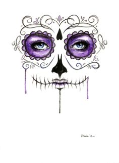 sugar skull prints (could also be a template for halloween/dress up makeup) Purple Sugar Skull Art Print by Robin Ewers Sugar Skull Makeup, Sugar Skull Art, Halloween Makeup Sugar Skull, Sugar Skull Costume, Sugar Skull Drawings, Sugar Skull Face Paint, Sugar Skull Design, Maquillage Sugar Skull, Horror Make-up
