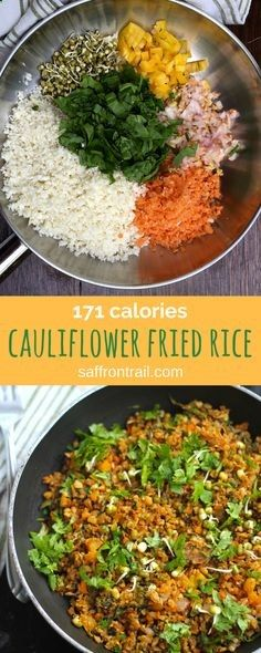 Recipe for quick and easy 15 minute cauliflower egg fried rice -at 171 calories. So delicious you wont miss the rice. Makes an excellent fast day recipe for those on the 5-2 diet.