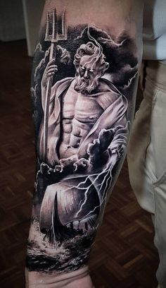 holy fucking shit this is badass Forarm Tattoos, Leg Tattoos, Body Art Tattoos, Tattoos For Guys, Warrior Tattoos, Viking Tattoos, Best Sleeve Tattoos, Tattoo Sleeve Designs, Posiden Tattoo