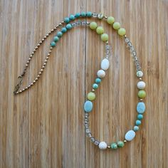 Eden Necklace  Olive Jade Amazonite Green Fire by SimonandRuby, $80.00