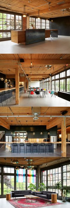 goCstudio completed the redesign of the offices for digital product studio Substantial, located in Seattle, Washington. Substantial is a digital product Office Images, Innovation Centre, Natural Interior, Inside Outside, Cafe Shop, Cool Lighting, Urban Design, House Plans, Furniture Design