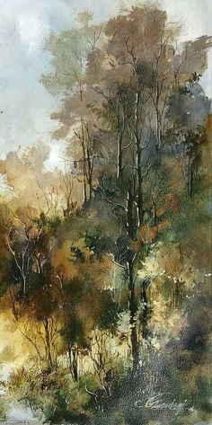 Watercolor Pictures, Watercolor Trees, Watercolor Landscape, Watercolor And Ink, Watercolour Painting, Painting & Drawing, Landscape Paintings, Amazing Paintings, Watercolour Tutorials