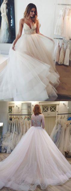 Latest Princess Wedding Dresses Backless, V-neck Bridal Dresses Modest, Tulle Sexy Wedding Dresses Romantic