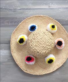 EYE EYE EYE EYE EYE EYE PUERTO RICO beach straw hat   Cleo Gatzeli http://www.cleogatzeli.com/shop/hats/eye-eye-eye-eye-eye-eye-puerto-rico-beach-straw-hat/