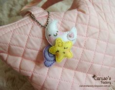 Kawaii felt stars and moon hanging
