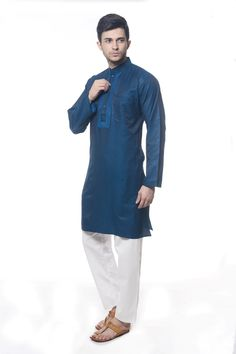 DARK BLUE DUAL TONE ART SILK READYMADE KURTA PAJAMA