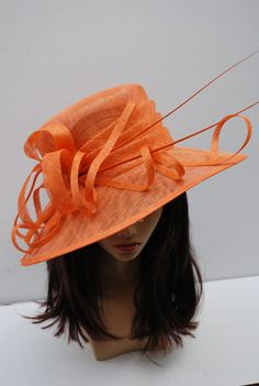 Orange Derby Hat Church hat Tea Party Hat Blue by QueenSugarBee Sinamay Hats, Millinery Hats, Fascinator Hats, Fascinators, Derby Outfits, Outfits With Hats, Hats For Women, Ladies Hats, Tea Party Hats