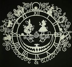 Papercut Alice and The White Rabbit- the second in my series of Alice themed papercut designs -soon to be available as a template to purchase in my Esty shop, CalicoCuts  https://www.etsy.com/uk/shop/CalicoCuts?ref=hdr