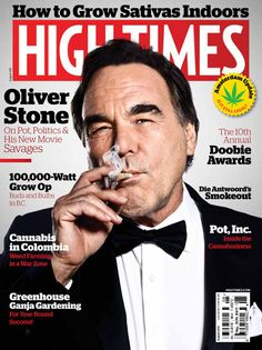 Oliver Stone Smoking A Joint on the Cover of High Times Magazine