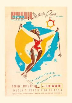 Cervinia, Italy  An abstract poster from one of Italy's most popular resorts, which is linked with Zermatt in neighbouring Switzerland. Picture: Cervino Lift Company