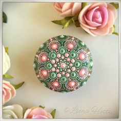 pink and green rose Mandala Stone Mandala Design, Mandala Art, Mandala Painting, Flower Mandala, Mandala Painted Rocks, Mandala Rocks, Hand Painted Rocks, Stone Mandala, Dot Art Painting