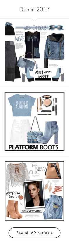 """""""Denim 2017"""" by yours-styling-best-friend ❤ liked on Polyvore featuring Federica Moretti, Boohoo, Laurence Dacade, Edun, Dsquared2, Ray-Ban, PlatformBoots, Steve J & Yoni P, Charlotte Russe and Gianvito Rossi"""
