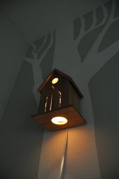 Peek-a-boo Modern Birdhouse Lamp For Baby Nursery