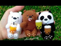 Osos escandalosos amigurumi tejidos a crochet (we bare bears amigurumi) - YouTube
