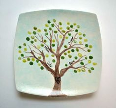 """Fingerprints for leaves. """"My Family Tree"""" Preschool Pottery Class Country Christmas Trees, Christmas Tree Cards, Xmas, Willow Tree Wedding, Small Palm Trees, Family Tree Poster, Preschool Art, Preschool Lessons, Tree Wedding Invitations"""