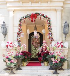 Favored Christmas Front Porch Decor Ideas - Page 33 of 35 Gingerbread Christmas Decor, Candy Land Christmas, Candy Christmas Decorations, Whimsical Christmas, Christmas Porch, Nutcracker Christmas, Pink Christmas, Christmas Holidays, Xmas
