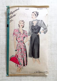 Vintage Pattern Hollywood 1820 1940s dress bowls sweetheart Neckline Bust 46 1940s pre post war era housewife plus size gored pleated