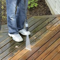 Power-washing is one of the best ways to clean mold from a wood deck.