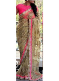 New Cream & Pink Net Designer Saree