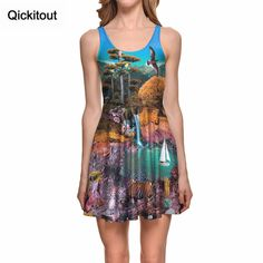 Find More Dresses Information about Qickitout Dress 2016 New arrival Women Fashion 3D Print Dress Landscape jungle Digital Printing Casual Dresses Drop shipping,High Quality dresses 2016 new arrivals,China print dress Suppliers, Cheap casual dress from Qickitout Official Store on Aliexpress.com