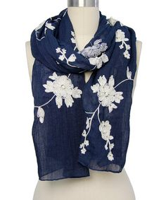 Loving this Navy Floral Embroidered Scarf on #zulily! #zulilyfinds