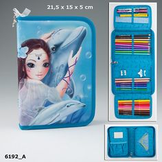 This stunning pencil case is crammed full of goodies, perfect for back to school!Featuring a classic top model fantasy design with a very cute deer shaped zip charm, it includes:Double pencil sharpener12 felt tips2 writing pencils1 eraser10 co
