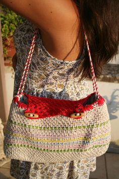 Summer handmade crocket bag in cotton and rope