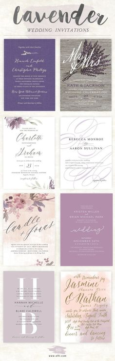 Gorgeous lavender wedding invitations from Elli.com. Free customization and unlimited proofs.