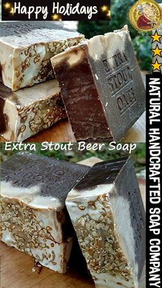 Beer Soap - Artisan all Natural Beer Stout Soap Bar With Shea Butter made with Guinness Extra Stout Beer- Fresh Handmade Natural Soaps Beer Soap, Coffee Soap, Soap Bar, Soap Making Recipes, Homemade Soap Recipes, Gifts For Beer Lovers, Beer Gifts, Artisan Beer, Oatmeal Soap