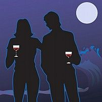 Silhouette Of A Couple Standing In Moonlight And Holding Wine Glasses Owner:  Maa Illustrations