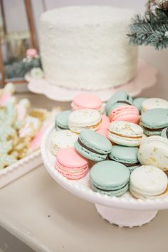 Pastel macarons for a winter party!