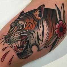 Tiger Tattoo by Roger Mares NeoTraditional ContemporaryTattoos ModernTattoos NeoTraditionalTattoos NeoTraditionalArtists RogerMares Tiger