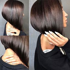 Precision cut stacked aline bob, loving this haircolor Haircut and color by To have… Line Bob Haircut, Haircut And Color, Trending Hairstyles, Short Bob Hairstyles, Bob Haircuts, Aline Bob, Thin Hair Cuts, Beautiful Haircuts, Corte Y Color