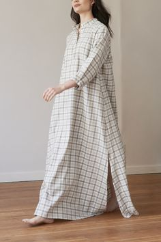 A flannel house dress or nightshirt inspired by a Morocco Chemise. Featuring 3/4 length sleeves and a floor length hem, this dress is ethically made in Canada. House Dress, Sleep Shirt, Lingerie Sleepwear, Resort Wear, A Line Skirts, Blue And White, Flannels, Morocco, Long Sleeve
