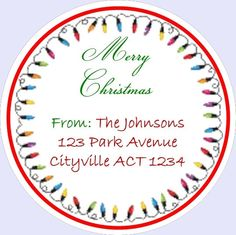 Xmas address seals 20 round seals fairy lights xmas tree lights matte or gloss round labels personalised xmas card labels envelope seals by BootifulLabels on Etsy