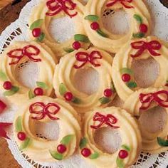 Wreath Cookies. Great for cookie exchange