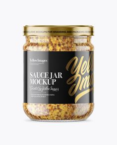 Clear Glass Jar with Wholegrain Mustard Mockup - Front View