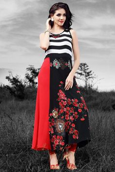 Buy Aishwarya Black & Red Striped Torso Kurti online in India at best price.Product Information Color : Red Color : Black Fabric : Georgette Occasion : Party Work : Bead Cotton Kurties, Long Skirt And Top, Kurti Collection, Morning Flowers, Red Stripes, Pakistani Dresses, Kurtis, Black Fabric, Designer Dresses