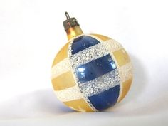 Vintage Poland Christmas Ornament, PGold, Blue and White Mica Plaid Small Ornament