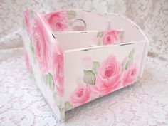 LAZY SUSAN ROSE CADDY ORGANIZER hp chic shabby vintage cottage hand painted pink #VINTAGESTYLE #SHABBYCHIC