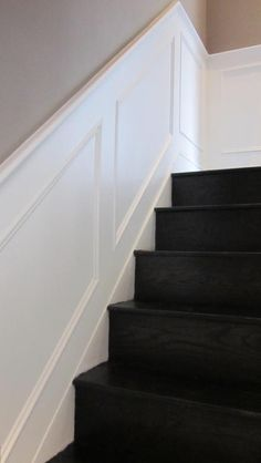 Staircase MDF Panelling Siles rails and Heritage Mouldings – Wall Pictures Stair Moulding, Stair Paneling, Panelling, Staircase Storage, Staircase Makeover, Mdf Wall Panels, Panel Walls, Painted Stair Risers, Hallway Designs