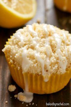Moist and fluffy homemade lemon crumb muffins with a sweet lemon glaze. Recipe from @bakedbyrachel