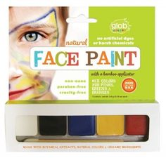Glob Glob's face paint is the only natural, non-nano face paint available, made with botanical extracts, natural colors, and organic ingredients in sustainable packaging. Instructions: Apply directly with applicator. For fine lines, wet brush lightly before applying. Additional brushes, or applicators and sponges recommended for detailed designs. Remove with body or coconut oil and tissue. Wash off with soap and water. Ingredients: white: natural mineral kaolinite, zinc oxide (non-nano)…