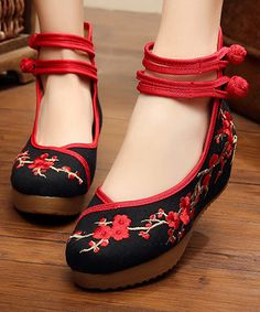 Black & Red Floral Embroidered Mary Jane